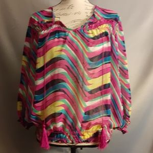 New Directions Sheer Vibrant multicolor Top